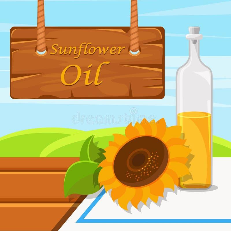 Подсолнечное масло, стеклянная бутылка масла еды на деревенском элементе дизайна иллюстрации вектора предпосылки для знамени, пла иллюстрация штока