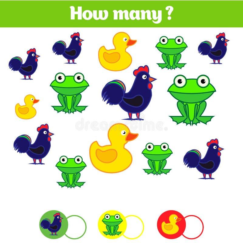 Подсчитывать воспитательную игру детей, лист деятельности при детей Сколько объектов задают работу Учить математику, номера стоковое изображение rf