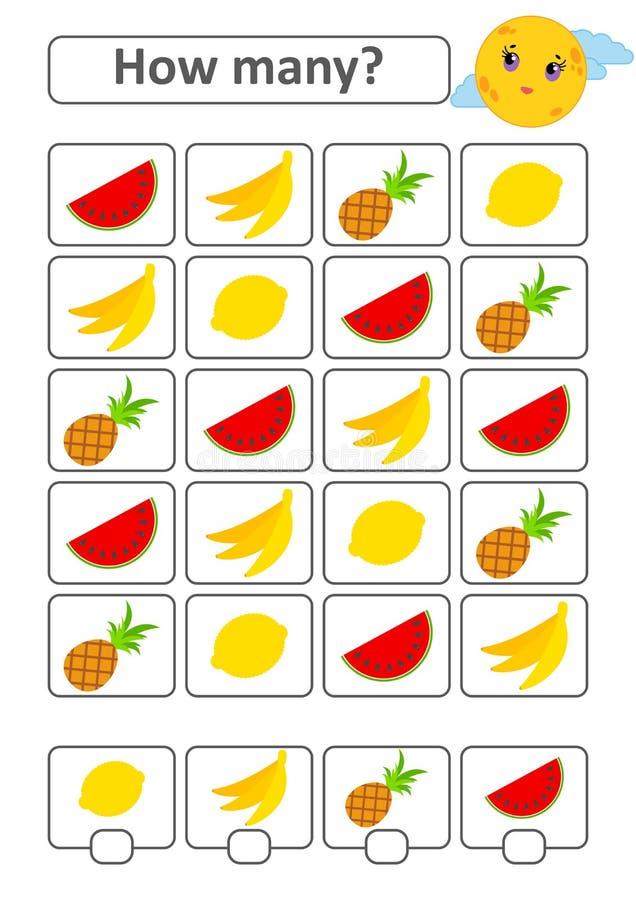 Подсчитывать игру для детей дошкольного возраста для развития математически способностей Сколько тропических плодоовощей С местом иллюстрация вектора