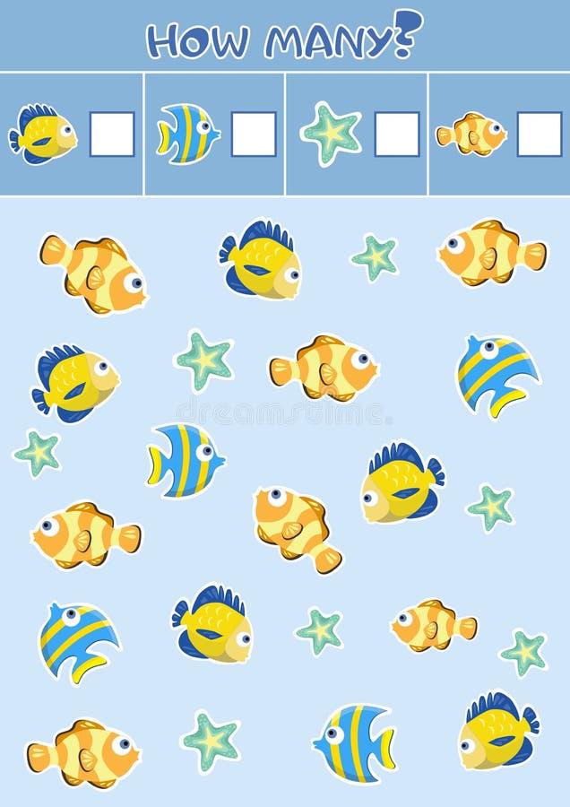 Подсчитывать игры ` s детей воспитательные, лист ` s детей Сколько объектов задают работу, морская флора и фауна, тема моря иллюстрация штока