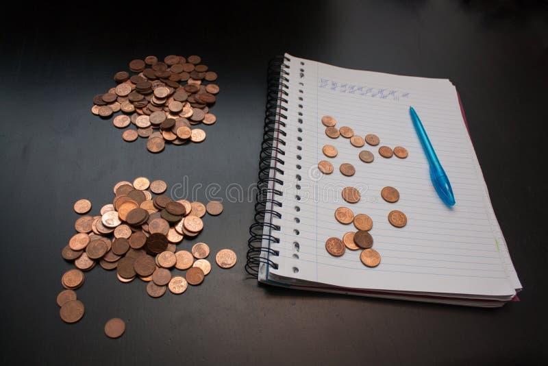 Подсчитывать кучу центов евро стоковое фото rf