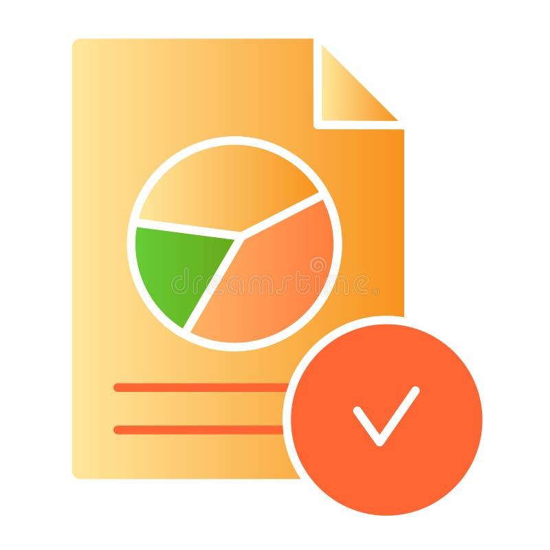 Подтверженный значок документа диаграммы плоский Проверенные значки цвета отчета в ультрамодном плоском стиле Бумага со стилем гр иллюстрация штока