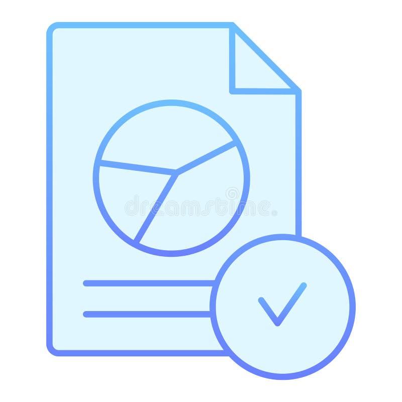 Подтверженный значок документа диаграммы плоский Проверенные значки отчета голубые в ультрамодном плоском стиле Бумага со стилем  бесплатная иллюстрация