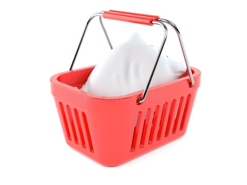 Подушка внутри корзины для товаров иллюстрация штока