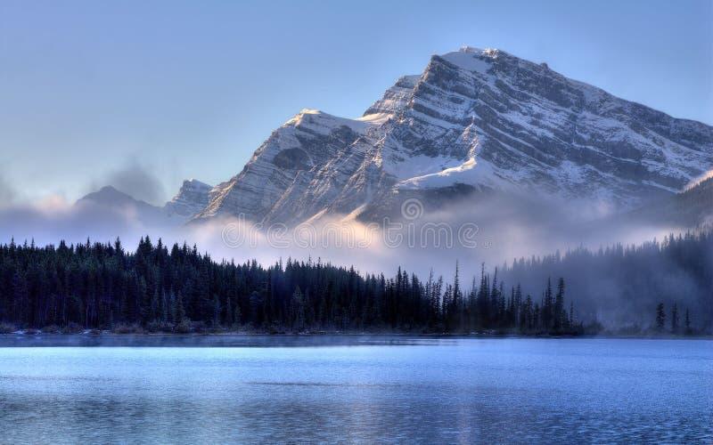 Подъемы тумана утра на восход солнца стоковые фото
