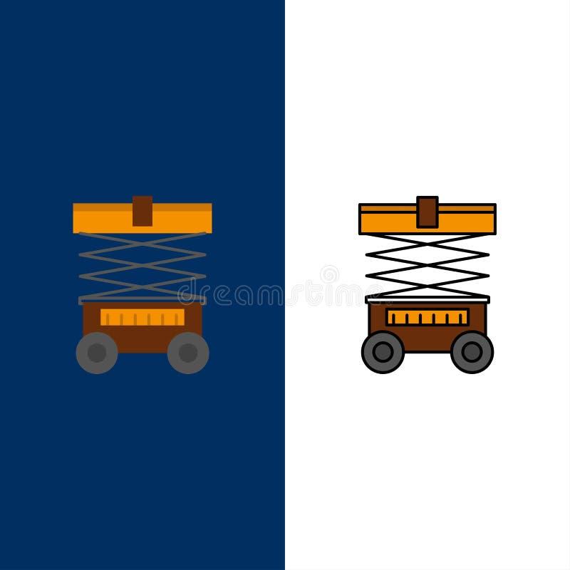 Подъем, грузоподъемник, склад, Lifter, значки Квартира и линия заполненный значок установили предпосылку вектора голубую бесплатная иллюстрация