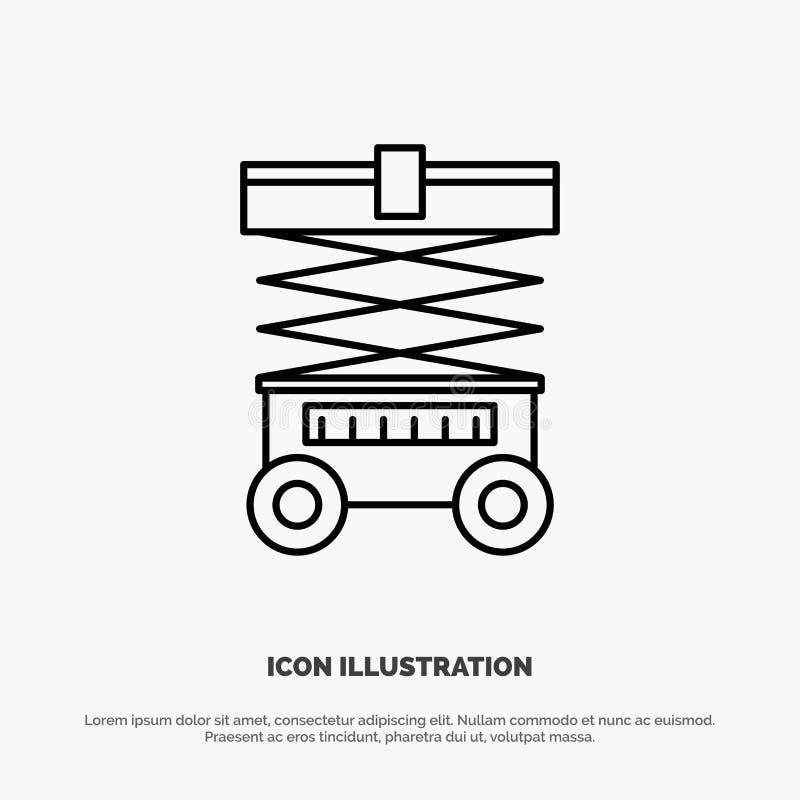Подъем, грузоподъемник, склад, Lifter, линия вектор значка бесплатная иллюстрация
