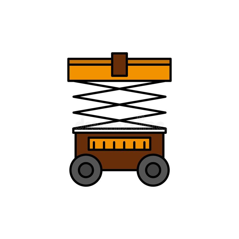 Подъем, грузоподъемник, склад, Lifter, плоский значок цвета Шаблон знамени значка вектора иллюстрация вектора