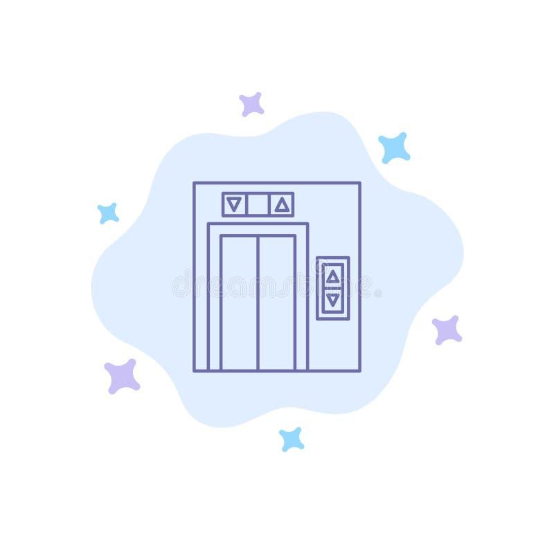 Подъем, здание, значок конструкции голубой на абстрактной предпосылке облака бесплатная иллюстрация