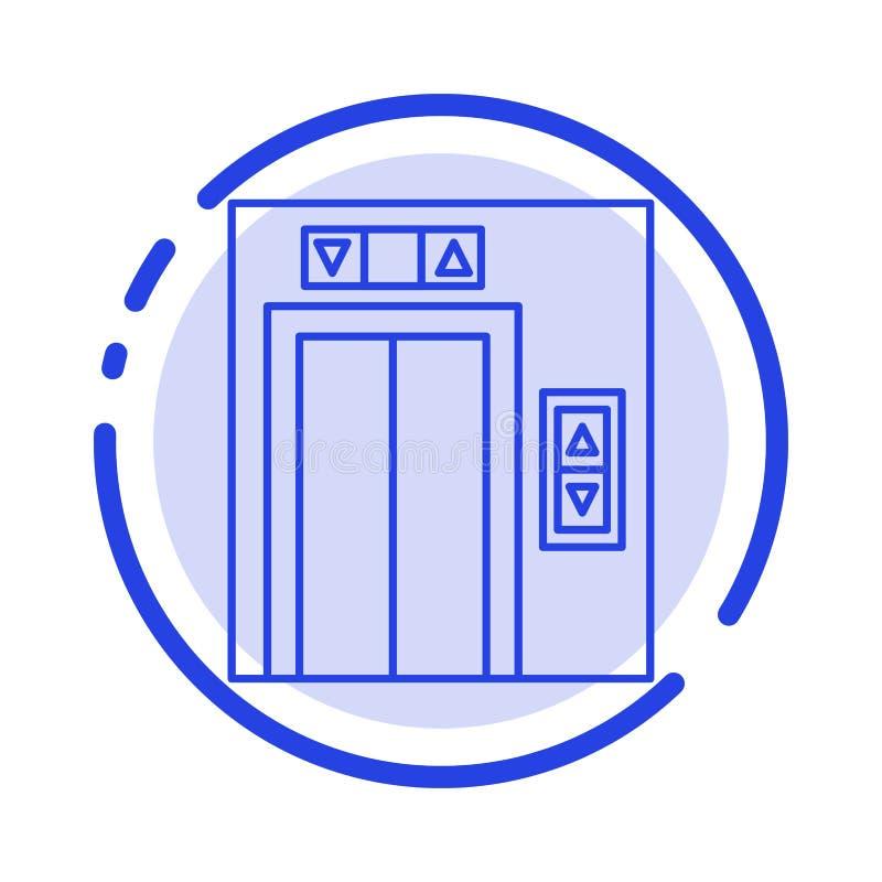 Подъем, здание, линия значок голубой пунктирной линии конструкции иллюстрация вектора