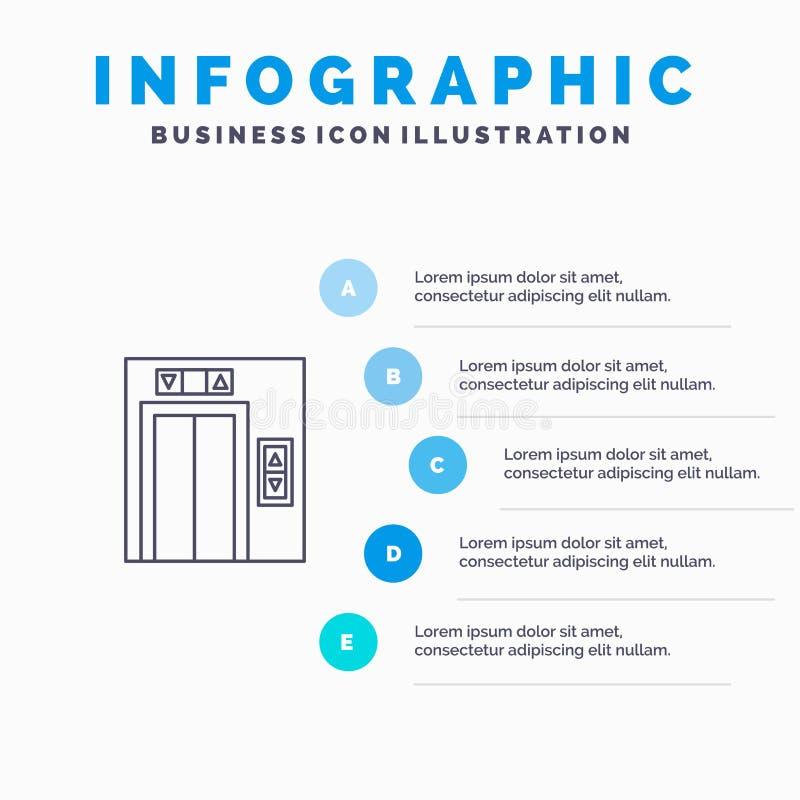 Подъем, здание, линия значок конструкции с предпосылкой infographics представления 5 шагов иллюстрация штока