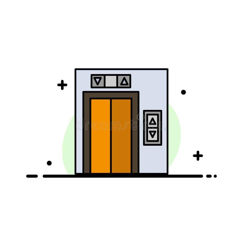 Подъем, здание, линия строительного бизнеса плоская заполнил шаблон знамени вектора значка иллюстрация вектора