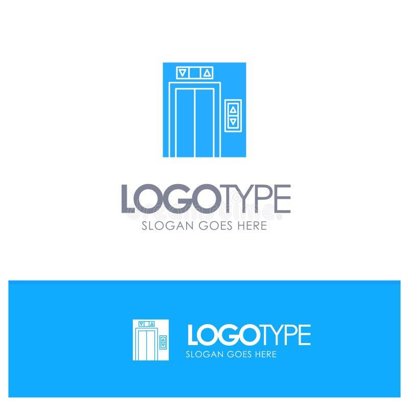 Подъем, здание, логотип конструкции голубой твердый с местом для слогана иллюстрация штока