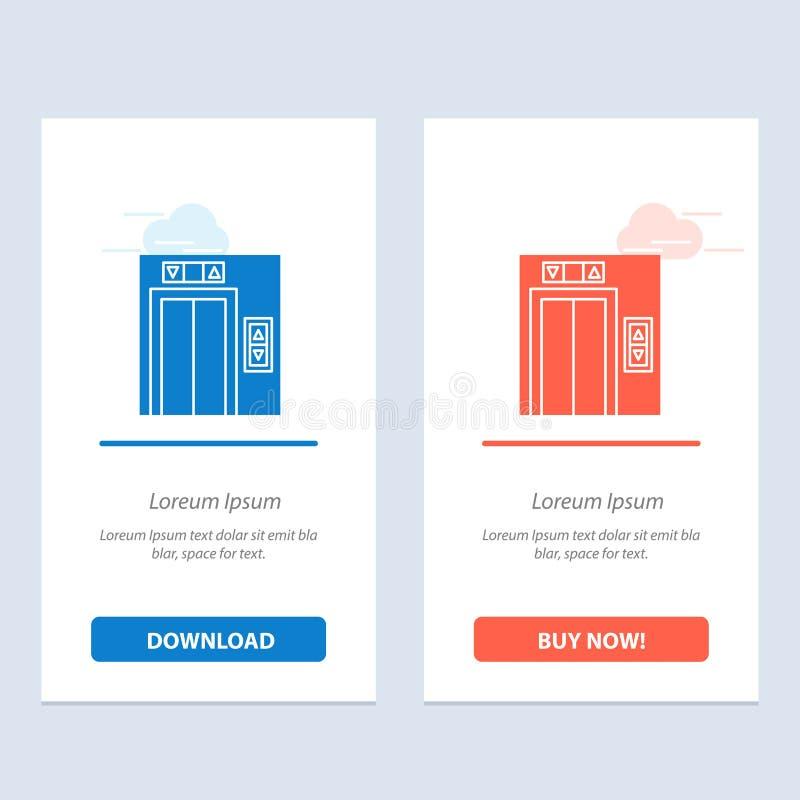 Подъем, здание, синь конструкции и красная загрузка и купить теперь шаблон карты приспособления сети иллюстрация штока