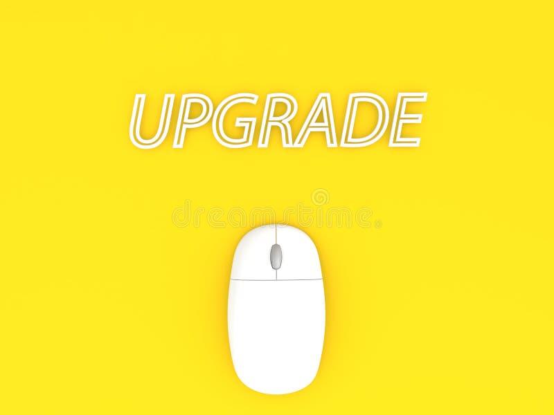 Подъем и мышь компьютера на желтой предпосылке иллюстрация штока