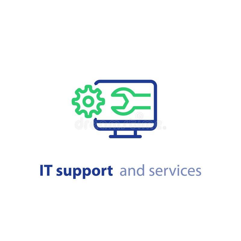 Подъем компьютера, обновление системы, программная инсталляция, ремонтные услуги, линия поддержки значок ИТ иллюстрация вектора