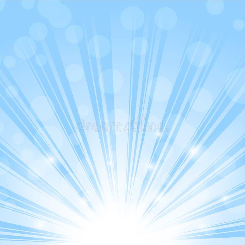 Подъем, лучи или sparkles Солнця на голубом небе вектор иллюстрация вектора