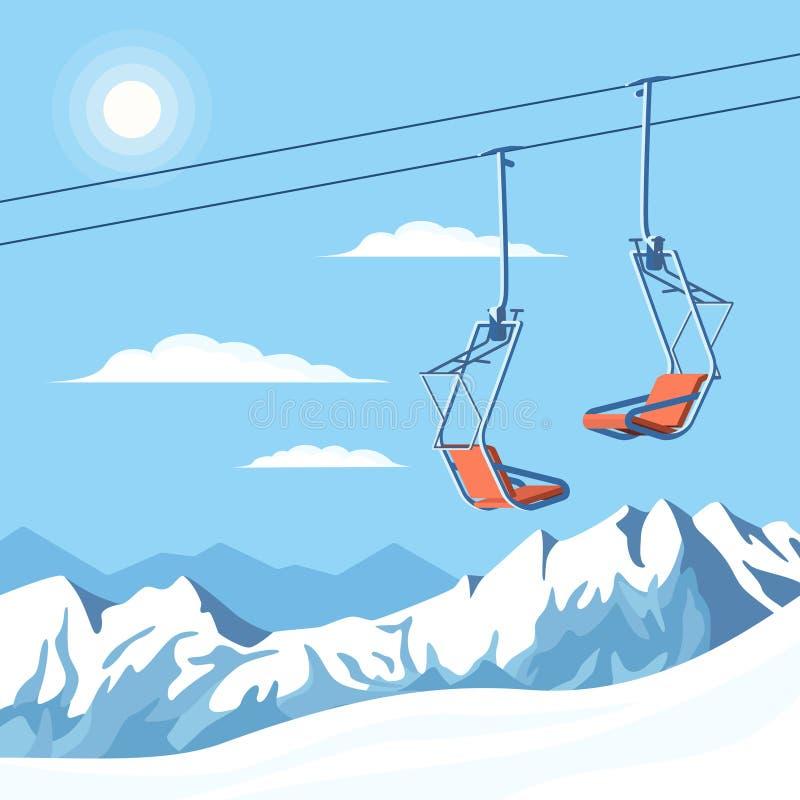 Подъем лыжи стула для движений лыжников и snowboarders горы в воздухе на веревочке на предпосылке снега зимы покрыл горы иллюстрация вектора