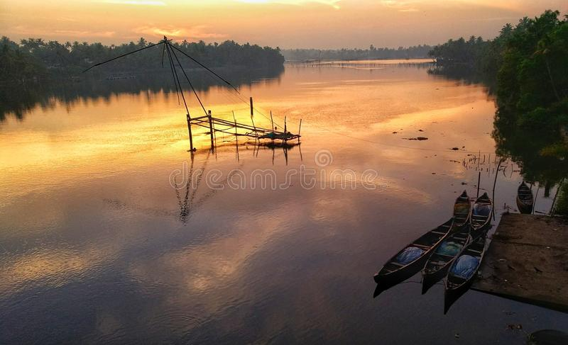 Подъем солнца подпора Кералы стоковое фото rf