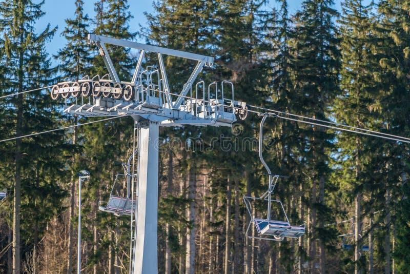 Подъем стула лыжи в Szklarska Poreba стоковое изображение rf