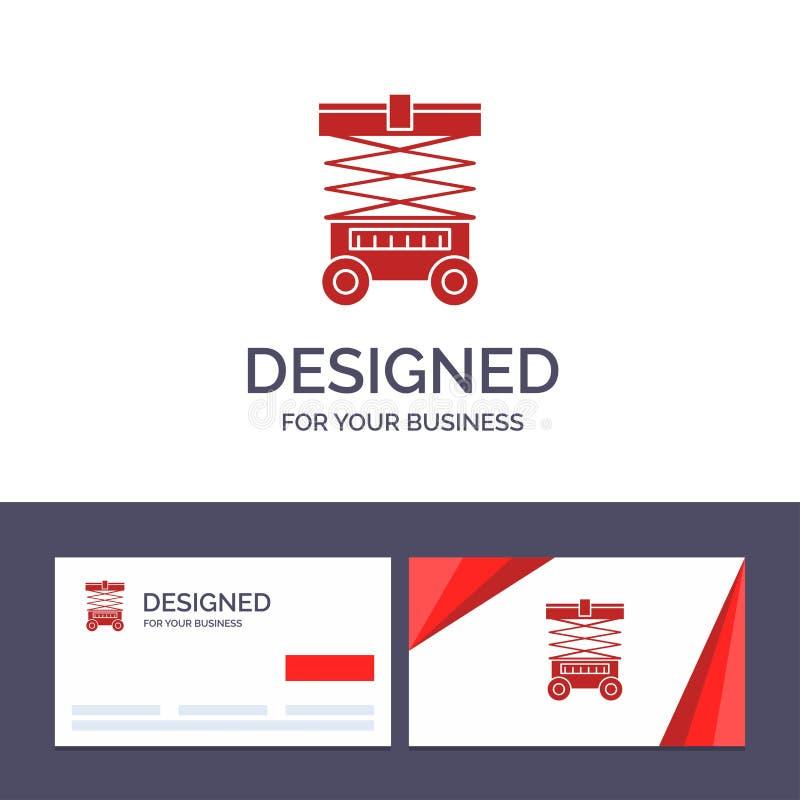 Подъем творческого шаблона визитной карточки и логотипа, грузоподъемник, склад, Lifter, иллюстрация вектора иллюстрация штока