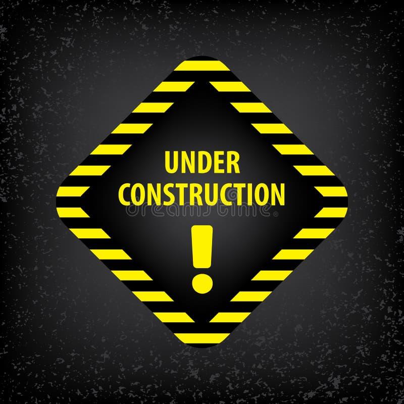 Под знаком конструкции на серой земной текстуре Иллюстрация вектора для вебсайта Под косоугольником конструкции с чернотой и желт иллюстрация штока