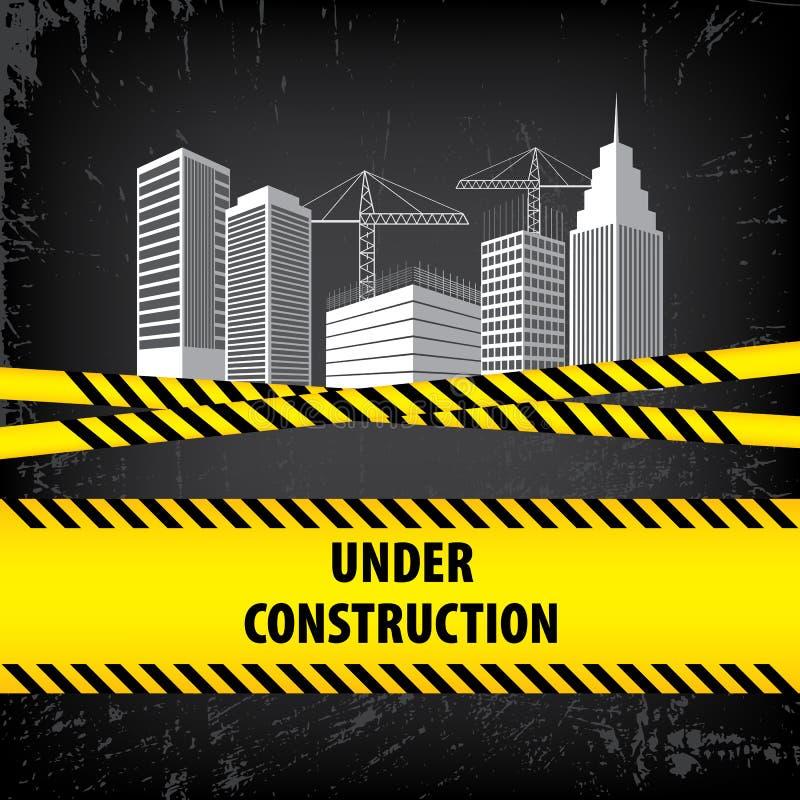 Под знаком конструкции на черной земной предпосылке Иллюстрация вектора для вебсайта Здание под строительной площадкой Здания a иллюстрация штока
