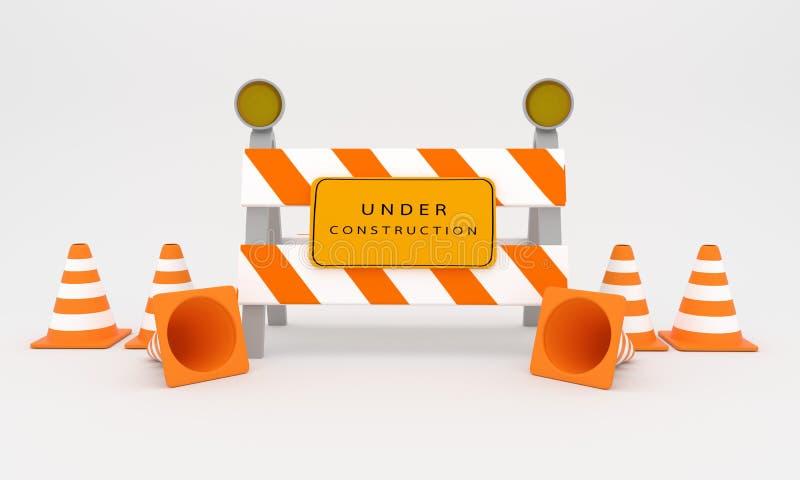 Под знаком конструкции, перевод знака 3D конструкции сети иллюстрация штока