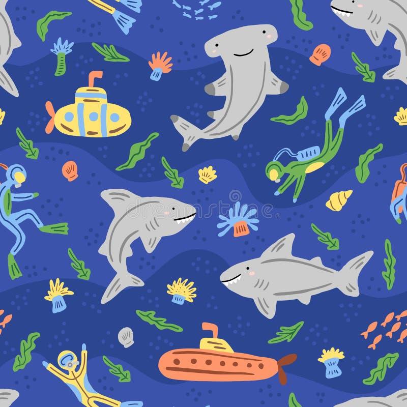 Под картиной моря безшовной Повторенная текстура с персонажами из мультфильма моря вычерченные женщины иллюстрации s руки стороны стоковое фото