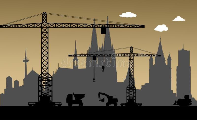 Под конструкцией, город Кёльна, Германия бесплатная иллюстрация