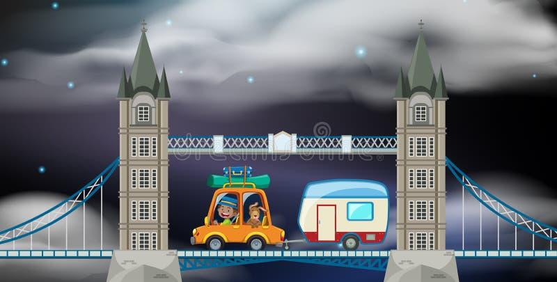 Поездка ночи на Лондоне иллюстрация вектора