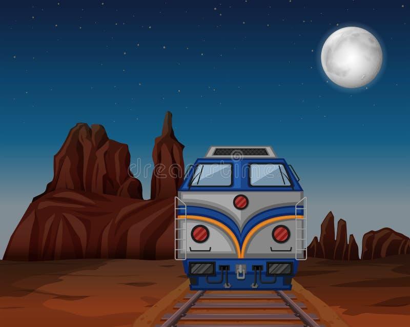 Поезд бежать через Аризону иллюстрация вектора