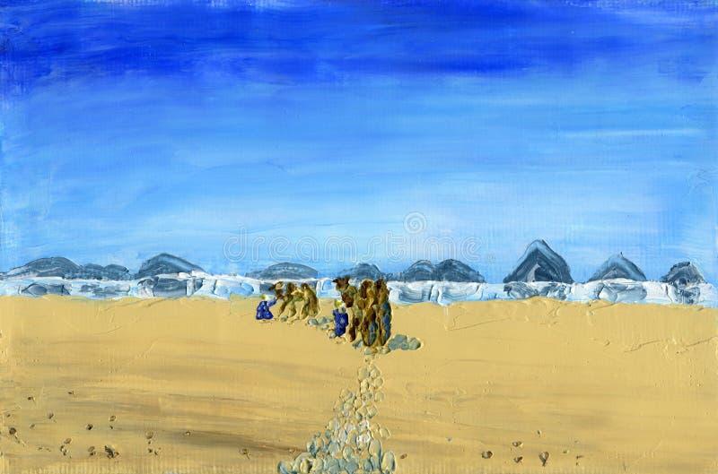 Поезд верблюдов идет через пустыню иллюстрация вектора