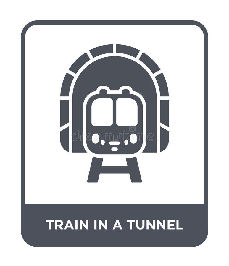 поезд в значке тоннеля в ультрамодном стиле дизайна поезд в значке тоннеля изолированном на белой предпосылке поезд в значке вект иллюстрация штока