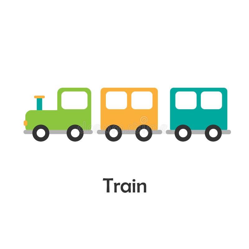 Поезд в стиле мультфильма, карта с переходом для ребенк, preschool деятельностью для детей, иллюстрацией вектора иллюстрация вектора