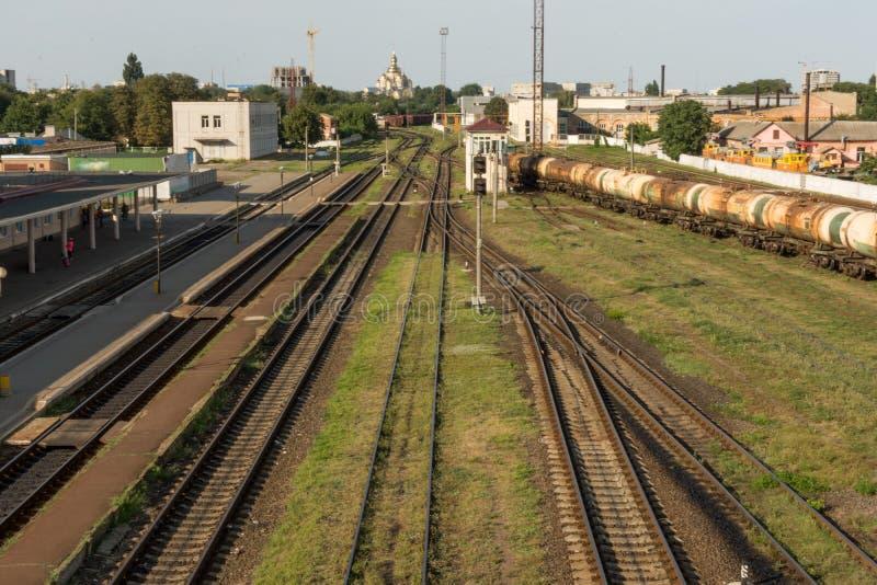 Поезд груза железнодорожный вокзал стоковые фотографии rf