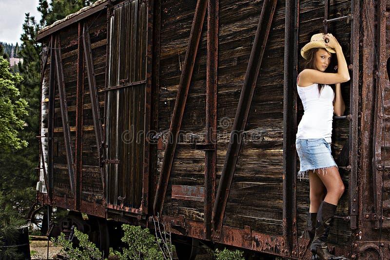 поезд девушки страны сексуальный стоковые фотографии rf