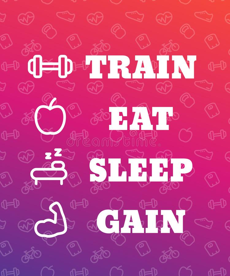 Поезд, ест, спит, приобретает, плакат для спортзала иллюстрация штока