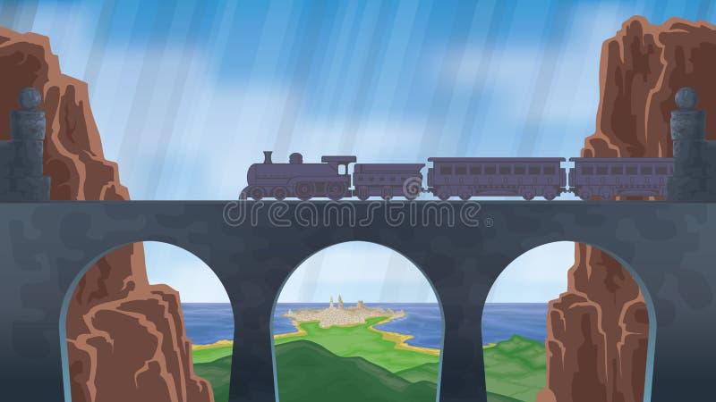 поезд ландшафта иллюстрация штока
