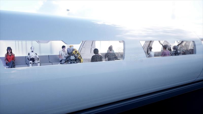 Поезд монорельса Speedly футуристический Станция Sci fi Концепция будущего Люди и роботы Энергия воды и ветра 3d иллюстрация штока