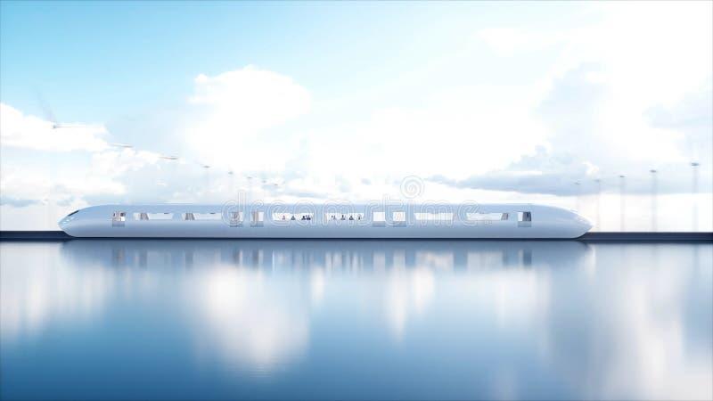 Поезд монорельса Speedly футуристический Станция Sci fi Концепция будущего Люди и роботы Энергия воды и ветра 3d стоковое изображение