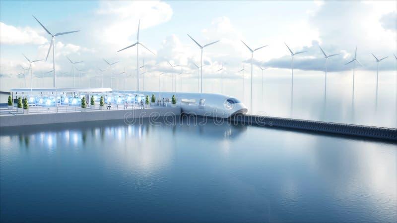 Поезд монорельса Speedly футуристический Станция Sci fi Концепция будущего Люди и роботы Энергия воды и ветра 3d иллюстрация вектора