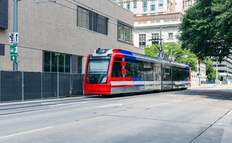 Поезд общественного местного транспорта в Хьюстоне Техасе стоковая фотография