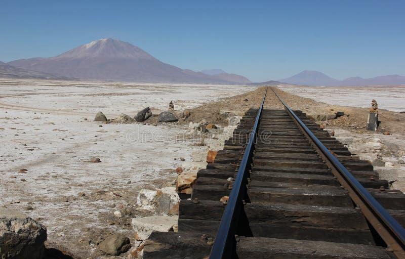 Поезд прокладывает рельсы на квартирах соли стоковые изображения rf