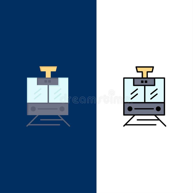 Поезд, публика, обслуживание, значки корабля Квартира и линия заполненный значок установили предпосылку вектора голубую иллюстрация вектора