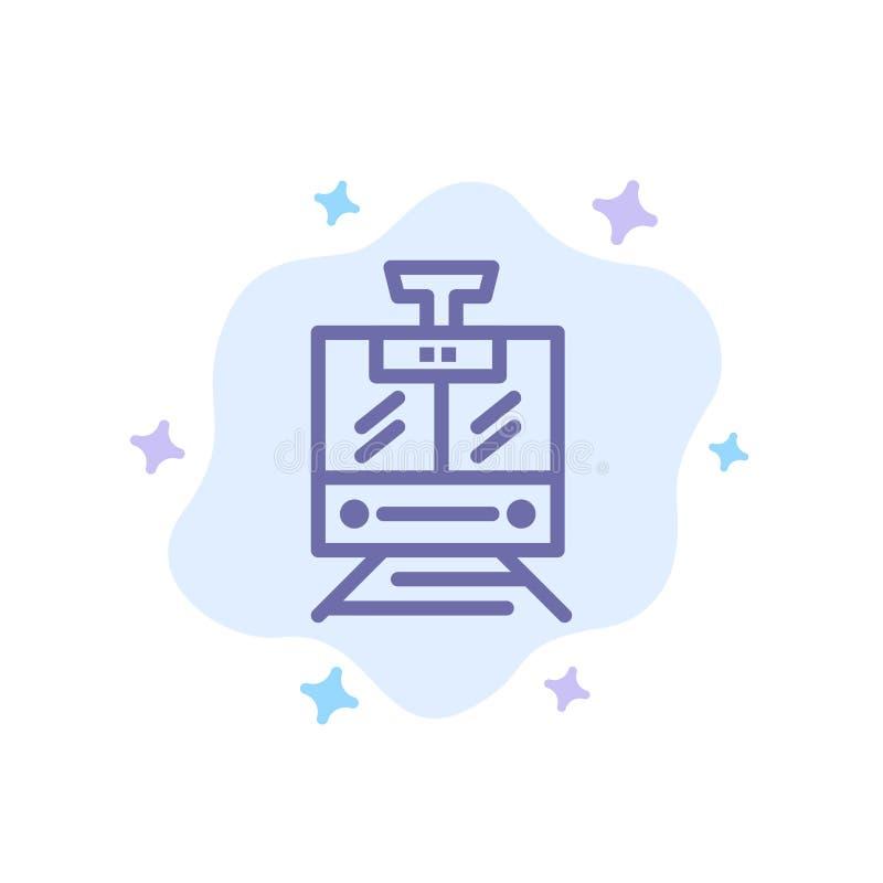 Поезд, публика, обслуживание, значок корабля голубой на абстрактной предпосылке облака иллюстрация вектора