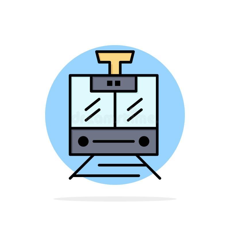 Поезд, публика, обслуживание, значок цвета предпосылки круга конспекта корабля плоский иллюстрация штока