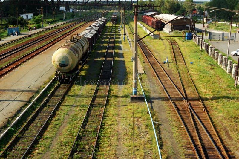 поезд следов железной дороги перевозки стоковая фотография