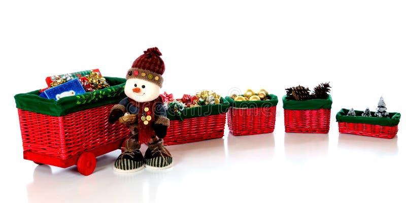 поезд снеговика рождества стоковые фотографии rf