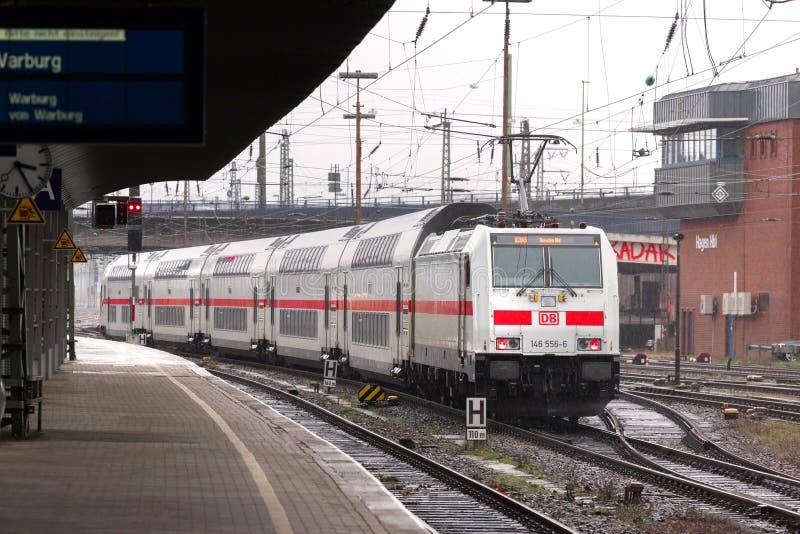 Поезд IC в Хагене Германии стоковое изображение